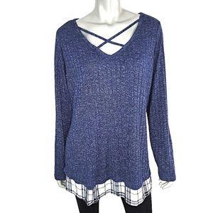 Plaid Peek A Boo Blue Ribbed Lightweight Sweater